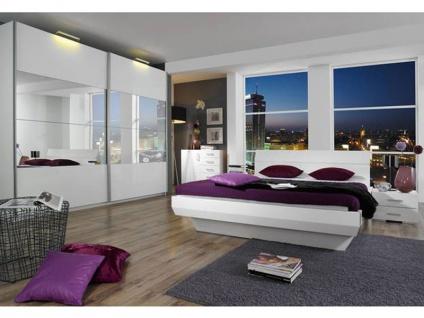 Rauch Select Tira 2-tlg.Schlafzimmer mit Schwebetürenschrank in Korpus alpinweiß Front Hochglanz weiß Bett in Hochglanz weiß optional mit Nachttischen und Kommode