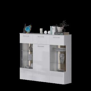 Forte Babila Highboard BBLV431B für Ihr Wohnzimmer oder Esszimmer Anrichte mit zwei Glastüren einer Tür und einem Schubkasten inkl. Beleuchtung Dekor Korpus Weiß matt kombiniert mit Weiß Hochglanz Front Weiß Hochglanz Absetzungen Picea Kiefer Nachbildung