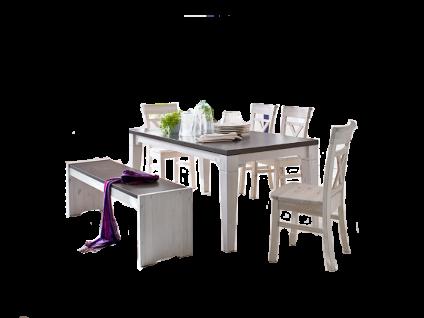 Euro Diffusion Boston Speisezimmer mit Esstisch vier Stühlen einer Sitzbank und optional mit Vertiko Vitrine und Sideboard in Kiefer Massivholz weiß mit Absetzung lava