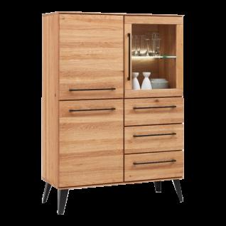 Niehoff Highbard Easy 4954-39-000 aus Charakter-Eiche Massivholz mit schwarzen Metallgriffen ideal für Ihr Ess-oder Wohnzimmer