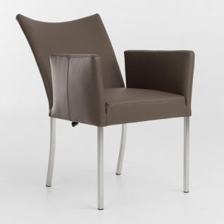 Bert Plantagie Audrey Flex Polsterstuhl mit Armlehnen und verstellbarer Rückenlehne Stuhl für Esszimmer Gestellausführung und Bezug in Leder oder Stoff wählbar