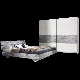 Rauch Select Sumatra-Extra Schlafzimmer bestehend aus Bett Liegefläche ca. 180x200 cm und Schwebetürenschrank 2-türig in alpinweiß mit Absetzungen in Vintage-Optik grau optional mit Nachttischen und Kommode wählbar