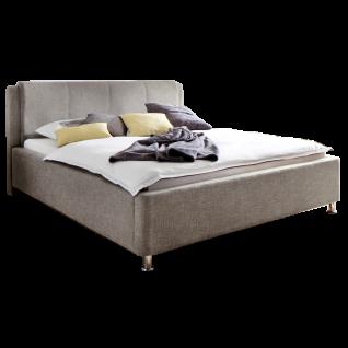 Meise Möbel Polsterbett El Paso mit Stoffbezug Culture in beige inklusive Bettkasten und Lattenrost Kopfteil mit Kissenüberzug Metallfüsse in Chromoptik Liegefläche wählbar