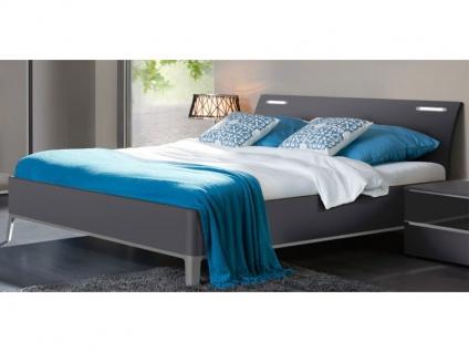 Nolte Elino Bett Doppelbett 2 mit Metallunterbaurahmen gerundet mit Holz-Rückenlehne inkl.LED-Beleuchtung in verschiedenen Größen lieferbar auch XXL-Länge 210 cm