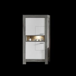 Wohn-Concept Granada Stauraumelement Type 07 mit zwei Türen und einem offenen Fach für Ihr Wohnzimmer oder Esszimmer inkl. LED-Beleuchtung Korpus Haveleiche Nachbildung Front wählbar