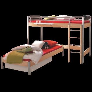 Hasena Space Concept Midi 305 Eck-Etagenbett mit Holzleiter Liegefläche ca. 90x200 cm in Buche Nachbildung / alu optional mit Hängeregal Bettkasten Matratze und Lattenrost wählbar