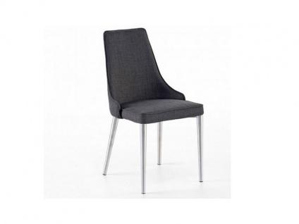 MCA furniture Elara EB4E31GX 4-Fuß Stuhl 2er-Set erhältlich mit Bezug Feingewebe grau Gestell Rundrohr konisch zulaufend Polsterstuhl für Ihr Esszimmer