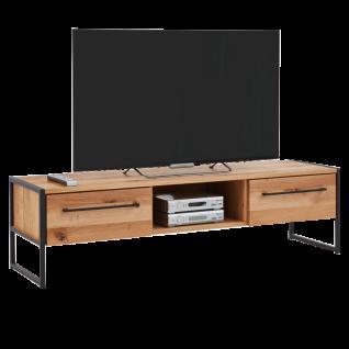 Niehoff Atelier Lowboard 5884-39-000 in Charakter-Eiche Massivholz geölt und gebürstet Leiterwangen und Griffe in Stahl schwarz pulverbeschichtet