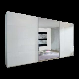 Rauch Select Beluga-Extra Schwebetürenschrank 3- türig Korpus und Front in Alpinweiß mit Spiegel Höhe und Breite sowie Grifffarbe wählbar