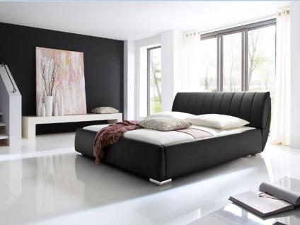 Meise Möbel Bern Polsterbett mit Kunstlederbezug in der Farbe schwarz mit integriertem Bettkasten und Lattenrost Kaltschaummatratze optional