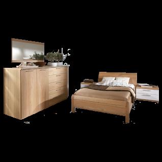 Disselkamp Linea Plus - Comfort-V Schlafzimmer Seniorenzimmer Bett Nachtkommoden Schrankkommode mit Reling Spiegel in Korpus Wildeiche Echtholzfurnier