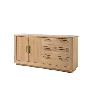 Quadrato Malta Sideboard 40521849 für Ihr Wohnzimmer oder Esszimmer Kommode mit zwei Türen und drei Schubkästen Front und Korpus Wildeiche Massivholz bianco geölt