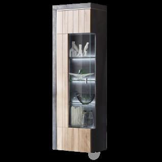 Ideal-Möbel Ribeira Vitrine Type 01 mit einer Glastür für Ihr Wohnzimmer oder Esszimmer moderne Standvitrine mit Korpus in Oxid Melamin Absetzung in MDF Profill ummantelt und Front in Kronberg Eiche hell Folie