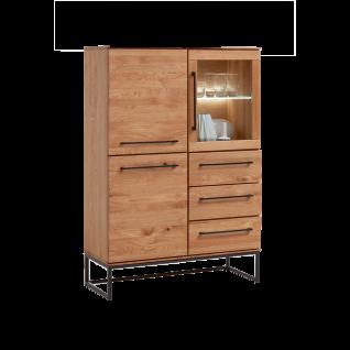 Niehoff Simply ausgefallenes Highboard 4654 Charaktereiche Massivholz gebürstet/ geölt Front und Korpus Massivholz Kommode mit Schubkästen und Türen und optionaler Beleuchtung für Wohnzimmer und Esszimmer