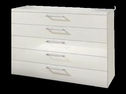 Disselkamp CD Studioline Schubladenkommode mit 5 Schubkästen Korpus Lack- Weiß und Front Hochglanz Weiß