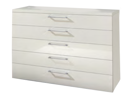 Disselkamp CD Studioline Schubladenkommode mit 5 Schubkästen Korpus Lack Weiß und Front Hochglanz Weiß