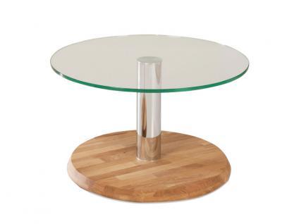 Vierhaus Couchtisch 5202 runde Bodenplatte aus Massivholz und runde diam. ca.70 cm Tischplatte aus Glas klar, Farbausführung der Bodenplatte wählbar