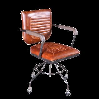 Sit Möbel Stuhl Bezug Büffelleder antik Gestell Metall Armlehnen mit Mangoholz