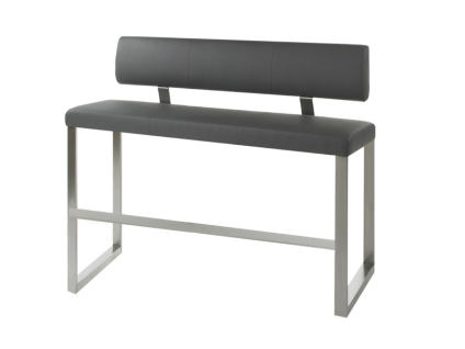 MWA Aktuell Milano Hochbank mit Rückenlehne für Ihr Esszimmer Sitzbank in Kunstleder Stoff oder Echtleder wählbar