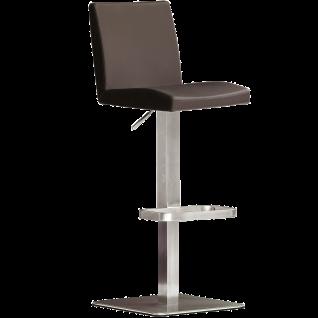 MCA furniture bar.be.cool Barhocker Lopes Art.Nr. LOEE20BX Bezug Leder Braun Gestell und Bodenplatte Edelstahl gebürstet höhenverstellbar drehbar