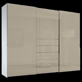 Staud Media Schwebetürenschrank mit TV-Fach Front vollverglast in Buntglas oder Alpinweißglas Schrankausführung mit 5 Schubkästen
