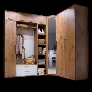 Wittenbreder Roubaix Garderobenkombination Nr. 15 komplette Garderobe für Ihren Flur und Eingangsbereich 9-teilige Vorschlagskombination im Dekor Wildeiche und Weiß matt