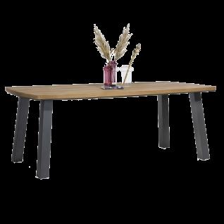 Habufa Arizona Esstisch 40876 Tischplatte Eiche furniert 4-Fuß-Gestell Metall Breite ca. 210 cm