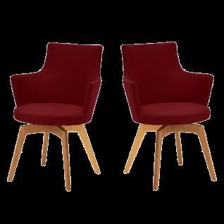 Venjakob Sessel Alexia 2442-15C2 2er-Set Armlehnenstuhl mit Bezug in Stoff Rom bordeaux und Gestell in Wildeiche geölt Massivholz Schale mit Schaumauflage und Drehfunktion für Esszimmer oder Küche ***am Lager***