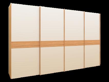 Rauch Steffen Linea Concept 20up Schwebetürenschrank Front 4A teilmassiv Korpusausführung Dekor-Druck Kernbuche mit vollaufgelegtem Frontdekor und Massivholz-Bauchbinde Schrankbreite Schrankhöhe und Farbausführung wählbar optional mit Massivholz-Seitenble