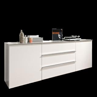 Loddenkemper Media 3000 Sideboard 7454 mit zwei Türen und drei Schubkästen Kommode in Lack Bianco Weiß matt Anrichte für Ihr Wohnzimmer oder Esszimmer