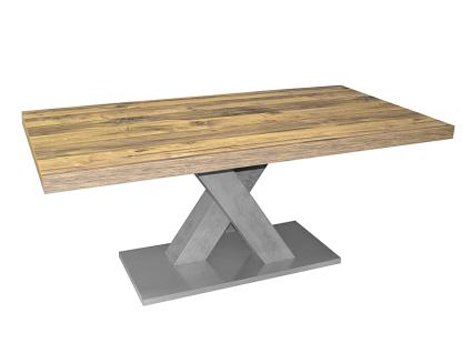 Mäusbacher Esstisch Komfort C ausziehbarer Säulentisch mit X-Gestell für Ihr Esszimmer Tischplattenfarbe und Untergestellfarbe wählbar und individuell kombinierbar Bodenplatte in Edelstahloptik Größe wählbar