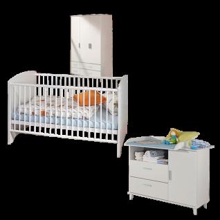 Rauch Packs Aik 3-teiliges Babyzimmer mit Drehtürenschrank Babybett und Wickelkommode in alpinweiß wahlweise mit Wandbord und Regalelementen