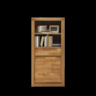 Elfo-Möbel Delft Regal 6206 mit 1 Schubkasten 1 Tür und 3 offenen Fächern in Massivholz Kernbuche geölt für Wohnzimmer oder Schlafzimmer