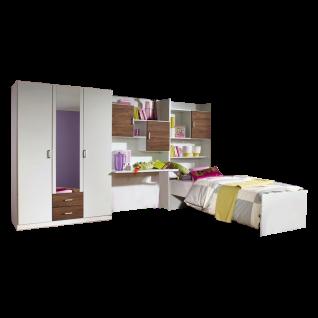 Rauch Packs Flow Jugendzimmer 4-teilig bestehend aus Drehtürenschrank Schreibtisch Bettkastenschrank und Umbauliege Farbausführung wählbar
