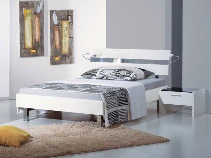 Neue Modular Livorno plus Bett mit Kopfteil Desio in Dekor weiß und Eckfüßen in Chrom Liegefläche wählbar