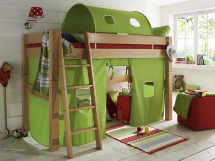 Infantil TOBYKIDS massives Mittelhochbett inklusive Rollrost Liegefläche 90 x 200 cm mit Vorhang Spielhöhle und Tunnel Ausführung wählbar