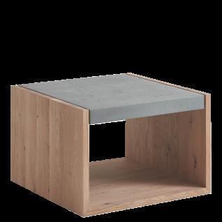 Hartmann Brik Beistelltisch Beton mit wählbarem Holzgestell in Kerneiche Natur Massivholz gebürstet oder Kerneiche Tabak Massivholz gebürstet und wählbarer Breite