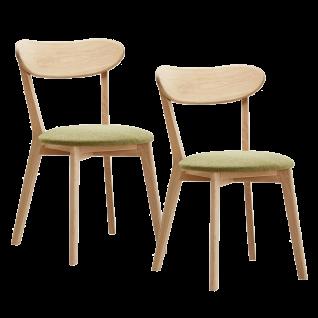 2x Niehoff Madison Stuhl 2141 Bezug grün Polsterstuhl für Esszimmer mit Gestell und Rückenlehne aus Massivholz Ausführung wählbar