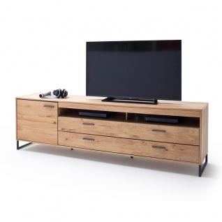 MCA Furniture Portland TV-Element POR17T32 für Ihr Wohnzimmer Lowboard im Industrial Look mit einer Tür zwei Schubkästen und zwei offenen Fächern TV-Unterteil in Asteiche bianco teilmassiv mit Fronten aus Massivholz und Füßen aus Metall Anthrazit lackiert - Vorschau 2