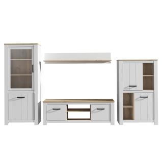 Forte Elara Wohnwand 4-teilig für Ihr Wohnzimmer Wohnkombination mit Vitrine Lowboard Highboard und Wandboard Korpus und Front Weiß matt Dekor Absetzung Bianco Eiche Nachbildung