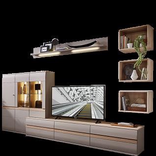 Stralsunder Binz 10-teilige Wohnwand in Grau matt mit Akzenten in Naturbuche Nachbildung bestehend aus zwei Highboards einem Aufsatz und einem Lowboard aus drei Teilen sowie drei viereckigen Wandregalen und einem Wandboard ideal für Ihr Wohnzimmer