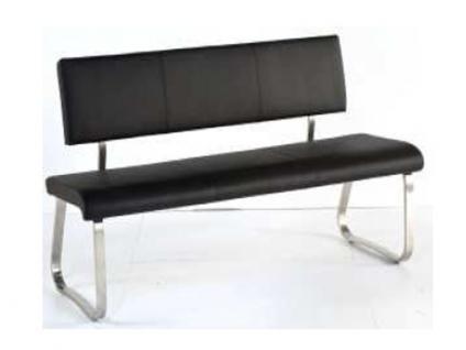 MCA furniture Sitzbank II Arco Bezug Leder 175x59 cm Gestell Edelstahl gebürstet Flachrohr Esszimmer Wohnzimmer Ausführung wählbar