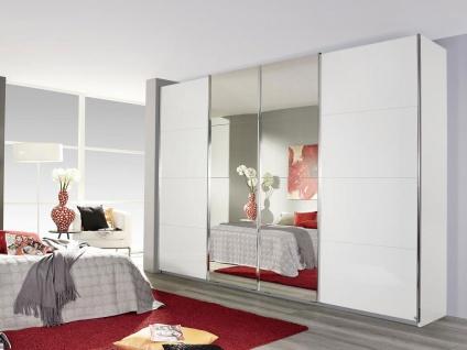 Rauch Packs Syncrono Panoramaschrank mit Spiegeltüren und Hochglanz Weiß Front 5b Schwebetürenschrank Leisten, Dekor und Größe wählbar Kleiderschrank