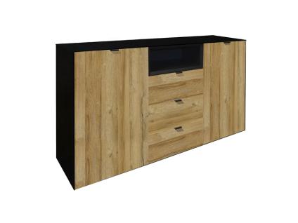 Mäusbacher Dallas Sideboard 0770-SB_23 für Ihr Wohnzimmer oder Esszimmer mit 2 Türen 1 offenen Fach und 3 Schubkästen Korpus Schwarzstahl Dekor und Frontabsetzung Grandson oak Dekor