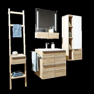 Voglauer V-Montana 5-teilige Badezimmerkombination Korpus und Abdeckplatten Tischlerplatte echtholzfurniert Front Massivholz und Holz-Glasfront optiwhite inklusive Beleuchtung