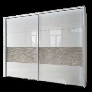Wiemann Texel Schwebetürenschrank 2-türig Dekor Weiß mit Glas Weiß und Absetzung in Struktur Größe wählbar optional mit Dämpferset und Passepartout