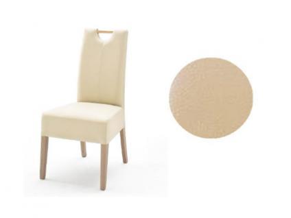 MCA Direkt Stuhl Elida beige Lederlook 2er Set Polsterstuhl für Wohnzimmer und Esszimmer Ausführung 4 Fuß Massivholzgestell und Griff wählbar