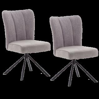 MCA furniture Polsterstuhl Santiago Sitzschale B Materialmix Bezug in 4 Farben Luxus-Komfortsitz 4-Fuß-Gestell schwarz Stühle im 2er Set