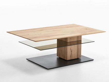 Hartmann Talis 5510 Couchtisch Riffbuche Massivholz gebürstet mit Applikation Baustahl Tisch für Wohnzimmer oder Gästezimmer