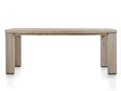 Habufa Coiba Esstisch feste Tischplatte in Bootsform aus Akazie teilmassiv tibet grey und anthrazit Akzente Größe wählbar für Ihr Wohnzimmer oder Esszimmer
